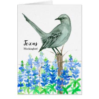 Cartão Pássaro de estado do vazio da aguarela do tordo