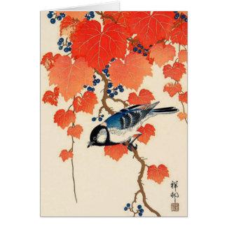 Cartão Pássaro de Jay do japonês do vintage e vinha do