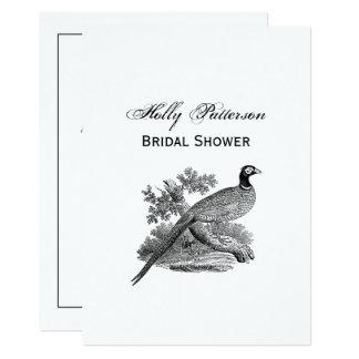 Cartão Pássaro de jogo do faisão do vintage que tira BW