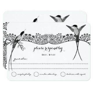Cartão Pássaro do amor do colibri que Wedding RSVP