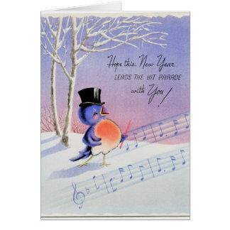 Cartão Pássaro do feliz ano novo do vintage