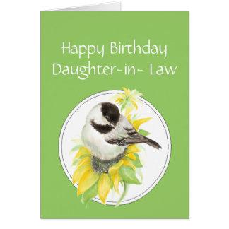 Cartão Pássaro do girassol do Chickadee da nora do