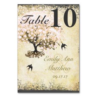 Cartão Pássaro do vintage da árvore do rosa da folha do