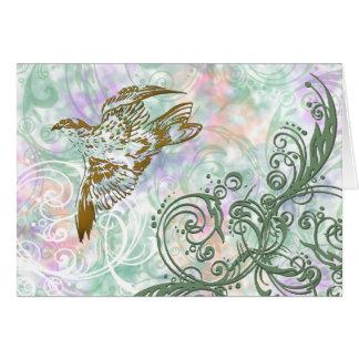 Cartão Pássaro e redemoinhos
