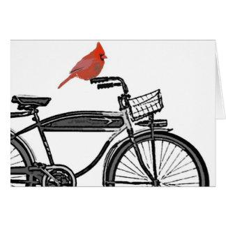 Cartão Pássaro em uma bicicleta