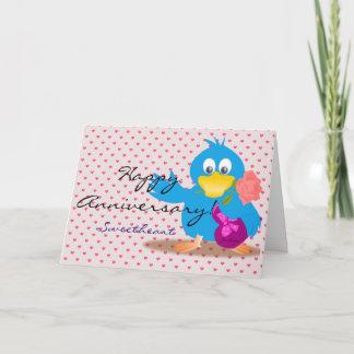 Custom Cute Blue Happy Anniversary Love Bird