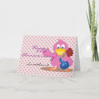 Custom Cute Pink Happy Anniversary Day Love Bird
