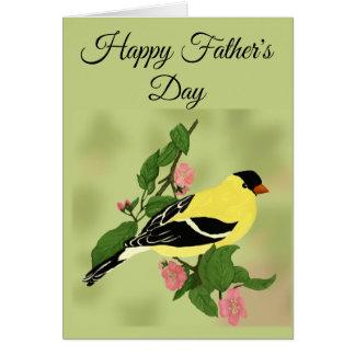 Cartão Pássaro feliz do Goldfinch do dia dos pais no ramo