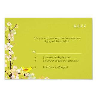 Cartão Pássaro lunático RSVP Wedding verde Chartreuse