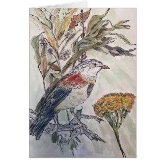 Cartão Pássaro no folhagem de outono