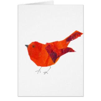 Cartão Pássaro vermelho bonito