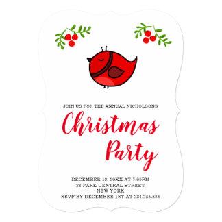 Cartão Pássaro vermelho engraçado bonito que tira a festa