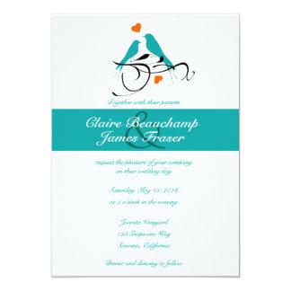 Cartão Pássaros azuis e corações que Wedding