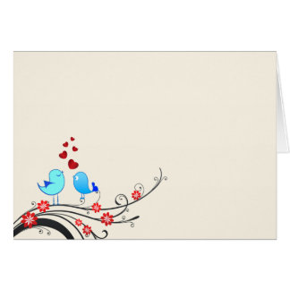 Cartão Pássaros bonitos do amor