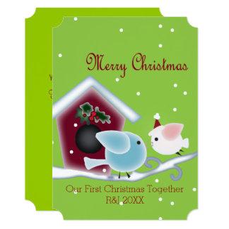 Cartão Pássaros bonitos do amor nosso primeiro Natal