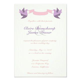 Cartão Pássaros cor-de-rosa e roxos que Wedding