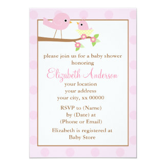 Cartão Pássaros cor-de-rosa em um chá de fraldas da