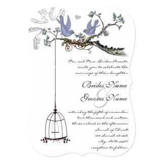 Cartão Pássaros cortados amarelos & flores roxas que