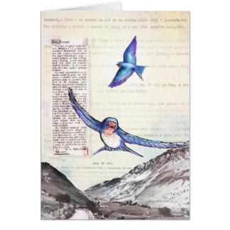 Cartão Pássaros de um vale de Galês