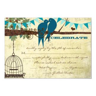 Cartão Pássaros do amor da cerceta que sentam-se em uma