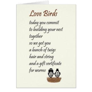 Cartão Pássaros do amor - um poema engraçado do casamento