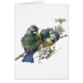 Cartão Pássaros do vintage, aniversário alemão