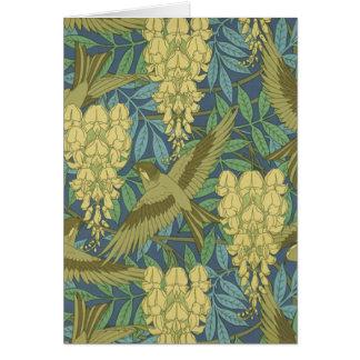 Cartão Pássaros e glicínias