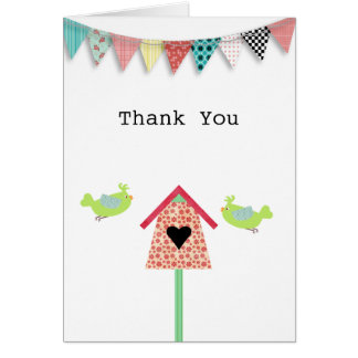 Cartão Pássaros lunáticos bonitos e obrigado do Birdhouse