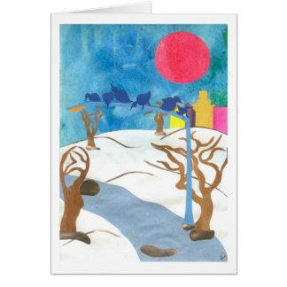 Cartão Pássaros no Central Park no inverno