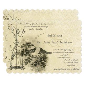 Cartão Pássaros rústicos do amor do Birdcage do vintage