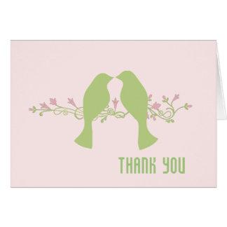 Cartão Pássaros verdes do amor que Wedding o obrigado