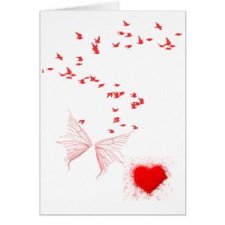 Cartão Pássaros vermelhos borboleta & coração
