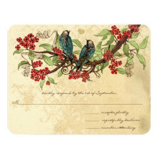 Cartão Pássaros vermelhos do vintage do ramo da flor que