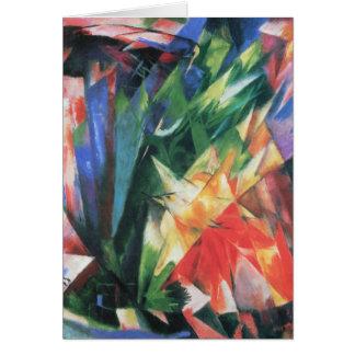 Cartão Pássaros (Vogel) por Franz Marc, arte do Cubism do