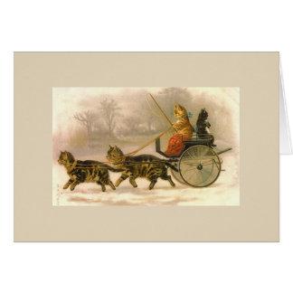 Cartão Passeio da carruagem para gatinhos,