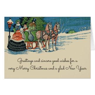 Cartão Passeio do trenó do natal vintage antiquado