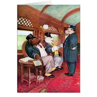Cartão Passeio dos ursos de Roosevelt em um trem
