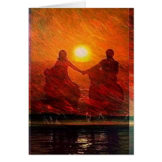 Cartão Passeio romântico do casal no por do sol a cavalo