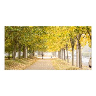 Cartão Passeio sob as árvores no outono mim