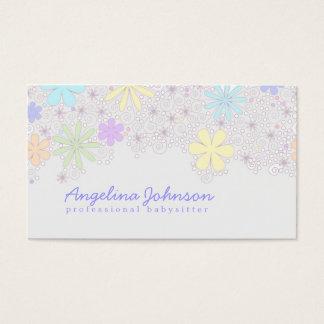 Cartão Pastel bonito simples da baby-sitter da