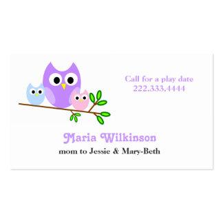 Cartão Pastel das mamães das corujas Cartão De Visita