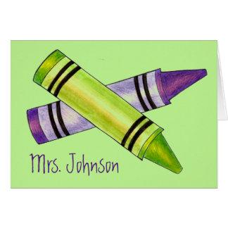 Cartão Pastel verde roxo personalizado do professor