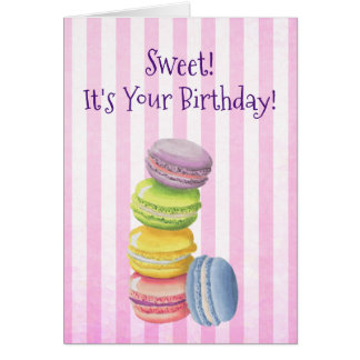 Cartão Pastelaria francesa de Macarons no aniversário das