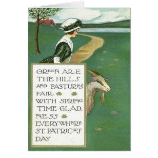 Cartão Pasto irlandês da cabra da menina