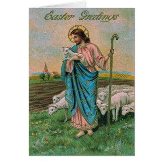 Cartão Pastor do cordeiro do Jesus Cristo