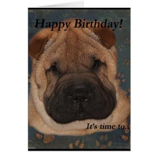 Cartão Patas da Aniversário-Tomada de Shar Pei