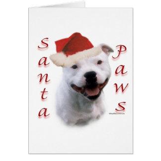 Cartão Patas do papai noel de Staffordshire bull terrier