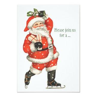 Cartão Patinador de gelo de Papai Noel do Victorian do