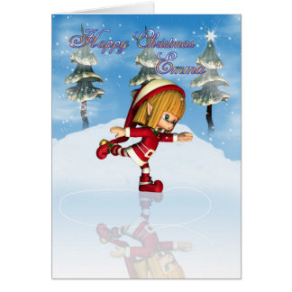 Cartão Patinagem do duende do cutie de Moonies do Natal