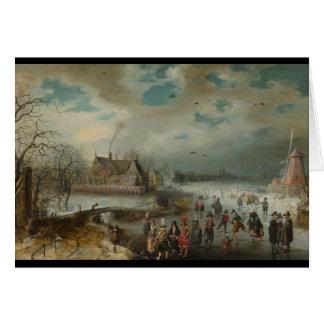 Cartão Patinagem no rio congelado de Amstel
